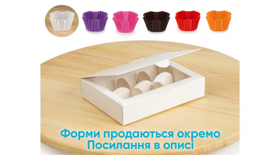 Коробка на 6 цукерок, білого кольору, 110х145х30 мм (10 штук)