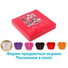 """Новорічна коробка під цукерки, 16 шт, """"Новорічні будиночки"""", 185*185*30 мм"""