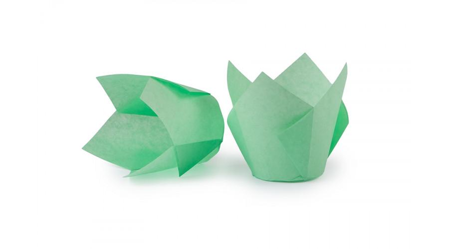 Зелені формочки Тюльпан для кексів. арт ТН150