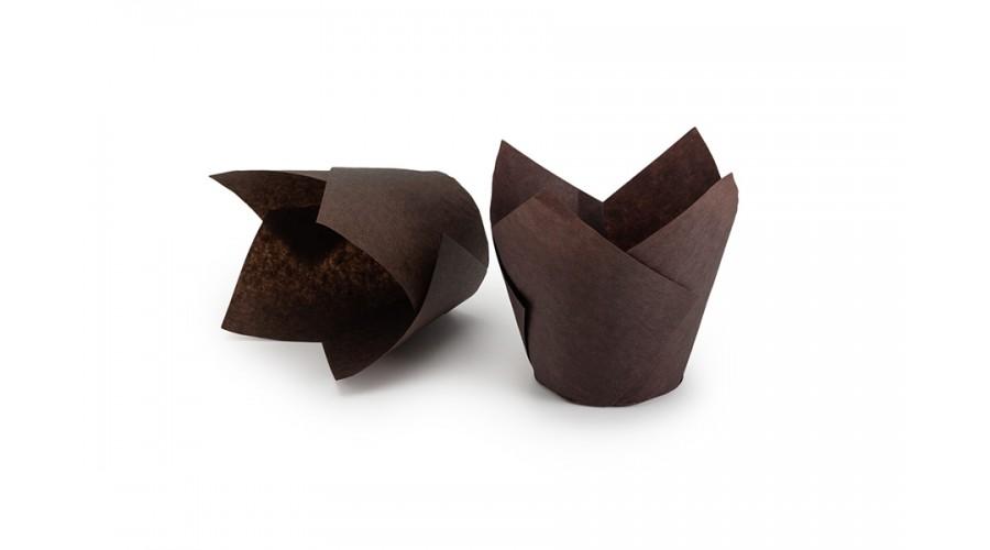 Коричневі формочки Тюльпан для кексів. арт ТН150
