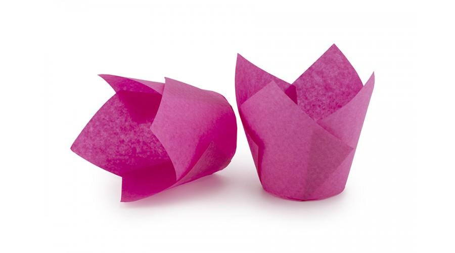 Розовые формочки Тюльпан для капкейков. Арт ТН150