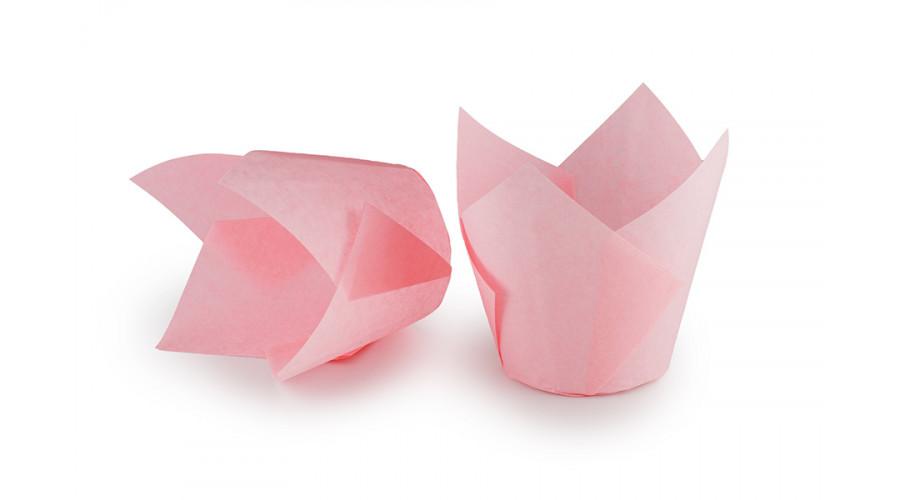 Світло-рожеві формочки Тюльпан для кексів. арт ТН150