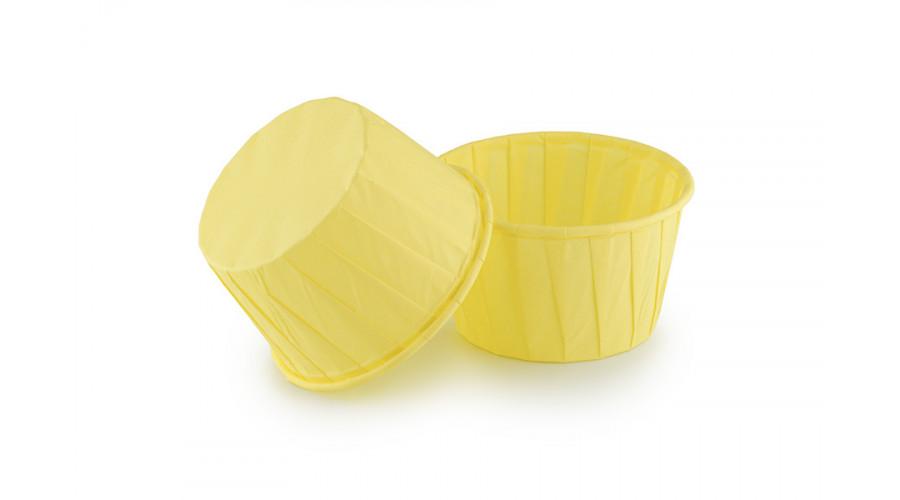 Паперові форми для кексів жовті з закрученим бортиком 50х40 мм, 70 гр/м2, 100 шт