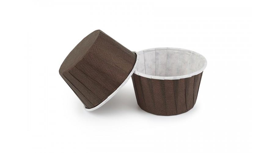 Паперові форми для кексів коричневі  з закрученим бортиком 50х40 мм, 400 шт