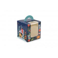 """Новорічна  універсальна коробка з ручкою """"Новорічний лист"""" (50 шт)"""