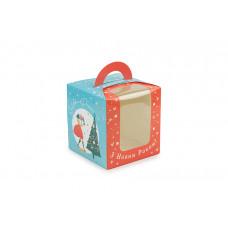 """Новорічна  універсальна коробка з ручкою """"Сім'я"""" (50 шт)"""