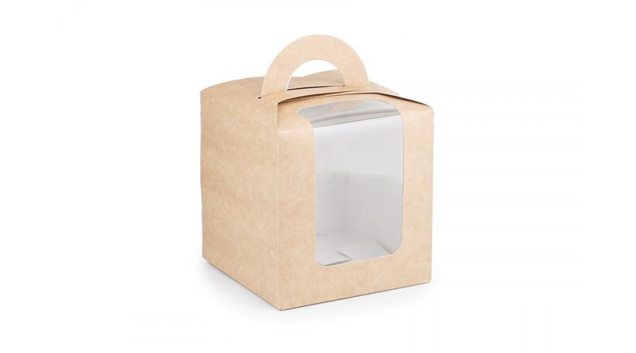 Коробка універсальна з ручкою,  крафт (10 штук)