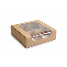 Коробка для зефіру і десертів, крафт, 200х200х60 мм