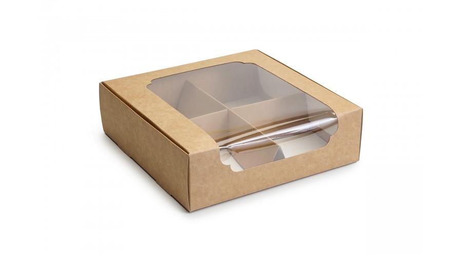 Коробка для зефіру і десертів, крафт, 200х200х60 мм ( 5 штук)