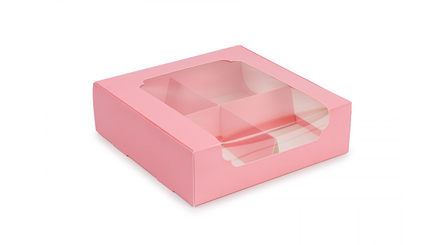 Коробка для десертів і зефіру, рожева, 200х200х60 мм