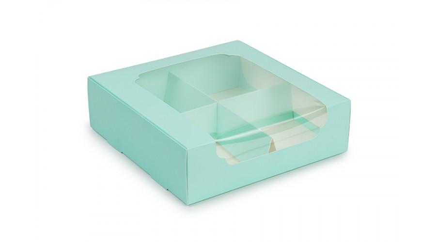 Коробка під десерт 200*200*60 з вікном, тіффані