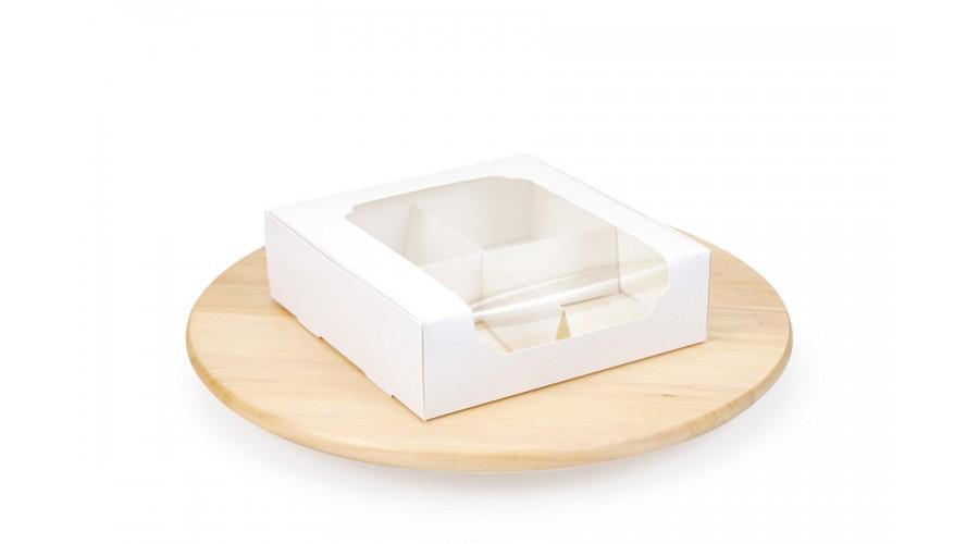 Коробка для зефіру і десертів, біла, 200х200х60 мм