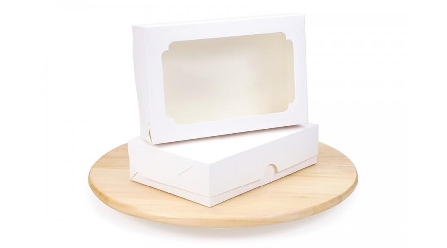 Коробка для еклерів і зефіра, 230х150х60 з вікном, біла