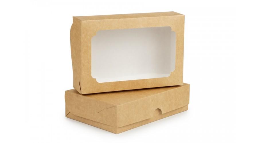 Коробка під еклери та зефір, 230х150х60, з вікном, крафт