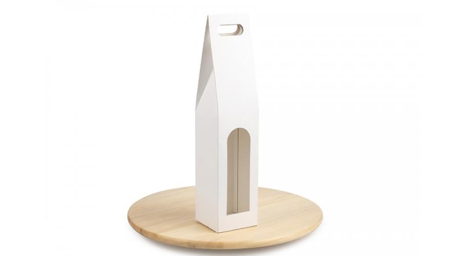 Біла коробка для пляшки з віконцем, 205х85х85 мм