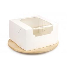 Біла коробка для торта, з віконцем, 260х260х150 мм
