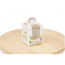 """Коробка для 1 капкейку, """"Квіти"""", 82х82х100 мм"""