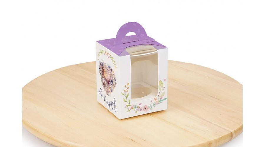"""Коробка для 1 капкейку, """"Фіолетова пташка"""", 82х82х100 мм"""
