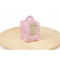 Рожева коробка для 1 капкейку, 82х82х100 мм
