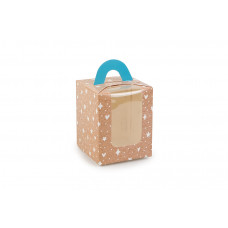 """Коробка для 1 капкейку з друком """"Візерунок на крафті"""",  з ручкою блакитного кольору, 82х82х100 мм (10 штук)"""