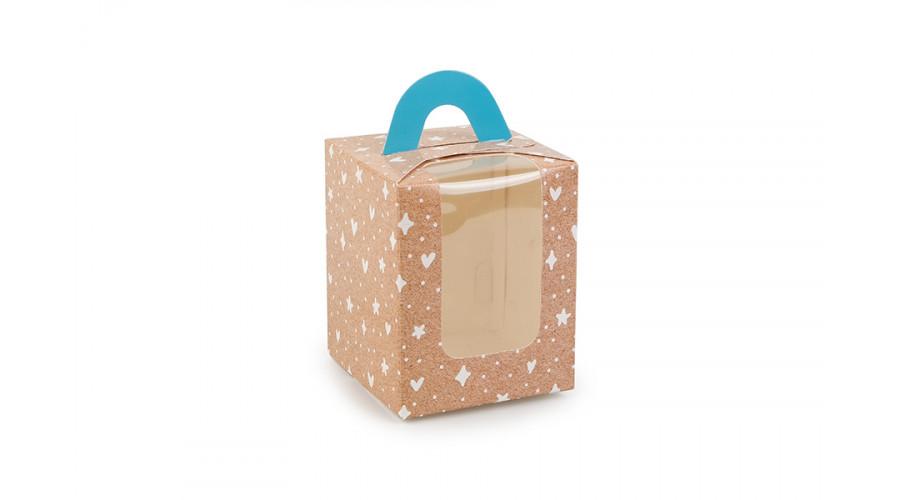 """Коробка для 1 капкейку з друком """"Візерунок на крафті"""",  з ручкою блакитного кольору, 82х82х100 мм (50 штук)"""