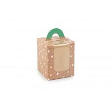 """Коробка для 1 капкейку з друком """"Візерунок на крафті"""",  з ручкою зеленого кольору, 82х82х100 мм (10 штук)"""