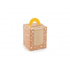 """Коробка для 1 капкейку з друком """"Візерунок на крафті"""",  з ручкою жовтого кольору, 82х82х100 мм (10 штук)"""