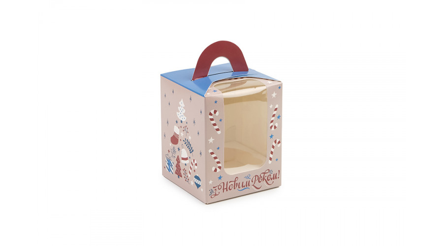 """Новорічна коробка для 1 капкейка, """"Подарунки"""",  82х82х100 мм (50 шт)"""