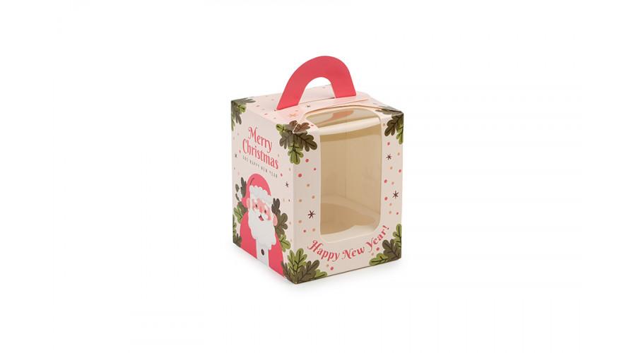 """Новорічна коробка для 1 капкейка, """"Санта"""",  82х82х100 мм (50 шт)"""