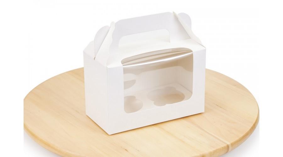 Коробка під капкейки, на 2 шт, білого кольору, 165х80х105 мм
