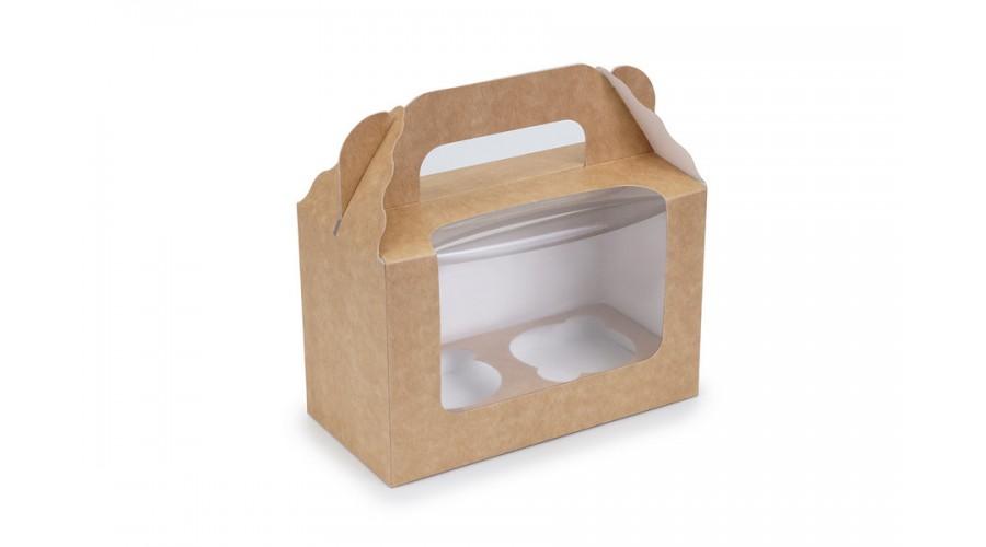Коробка під капкейки, на 2 шт, крафт, 165х80х105 мм