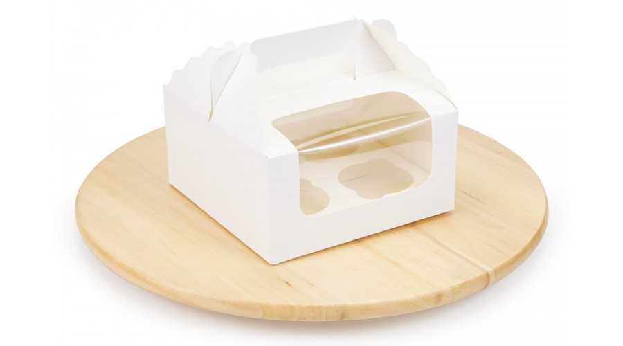 Коробка під капкейки, на 4 шт, біла, 170х170х85 мм
