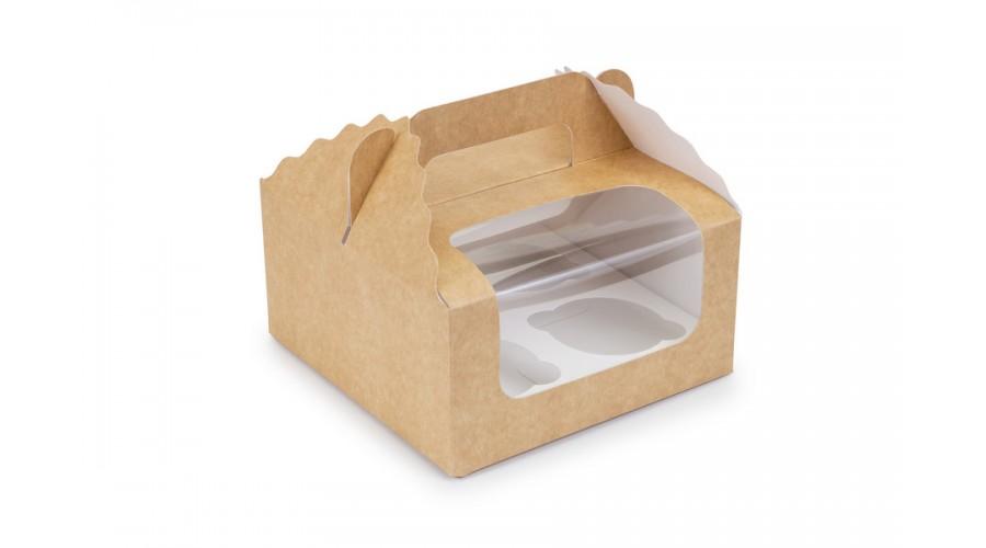 Коробка під капкейки на 4 шт, крафт 170х170х85 мм