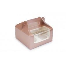 Коробка під 4 капкейки, колір коричневий металік , 170х170х85 мм