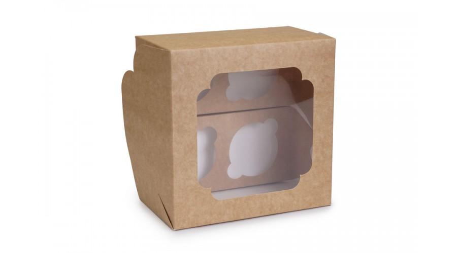 Коробка під капкейки, 4 (172*172*100)  крафт (нова)