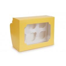Коробка для капкейків, на 6 шт, жовта, 255х190х100 мм