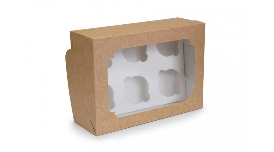 Коробка для капкейків, на 6 шт, крафт, 255х190х100 мм