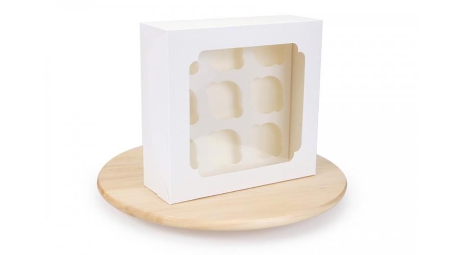 Коробка для капкейків, на 9 шт, біла, 250х240х90 мм