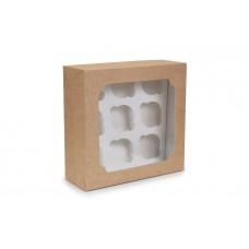 Коробка для капкейків, на 9 шт, крафт, 250х240х90 мм