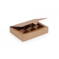 Коробка на 6 цукерок, крафтового кольору, 110х145х30 мм