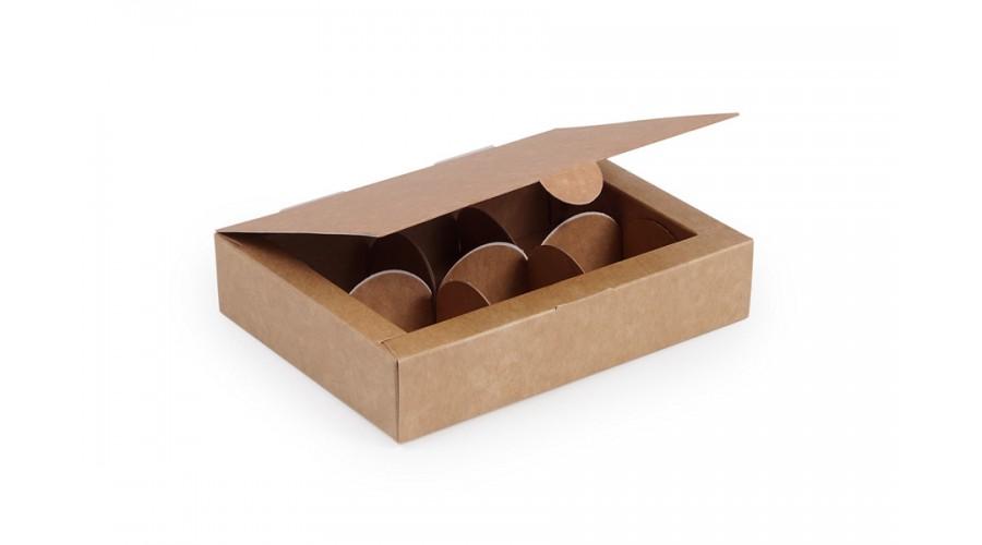 Коробка на 6 цукерок, крафтового кольору, 110х145х30 мм (10 штук)
