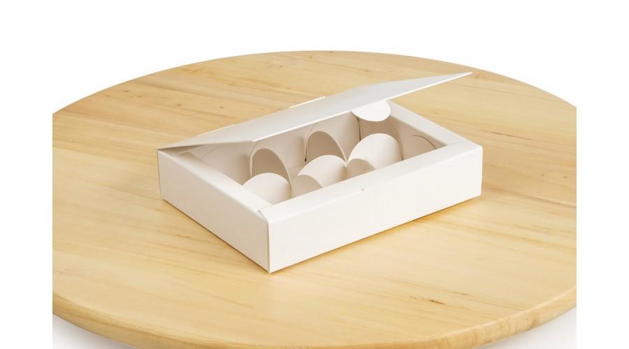 Коробка на 6 цукерок, білого кольору, 110х145х30 мм