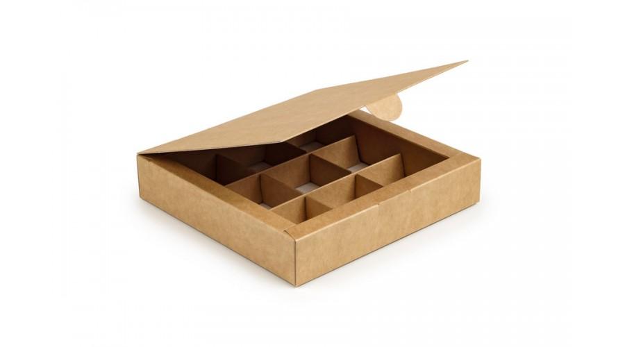Коробка на 9 цукерок, крафтового кольору, 153х153х30