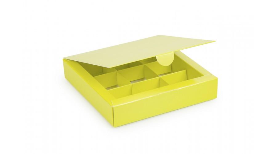 Коробка на 9 цукерок, салатового кольору, 153х153х30