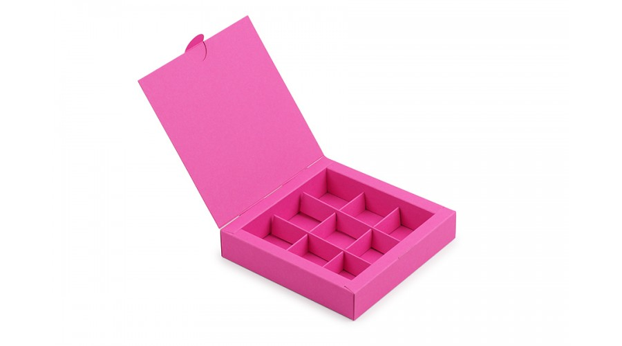 Коробка на 9 цукерок із дизайнерського картону, фуксія, 153х153х30