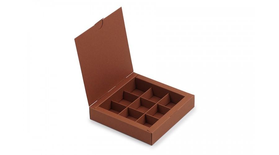 Коробка на 9 цукерок із дизайнерського картону, коричнева, 153х153х30