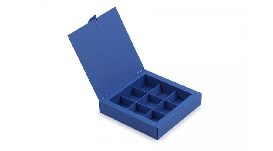 Коробка на 9 цукерок із дизайнерського картону, синя, 153х153х30