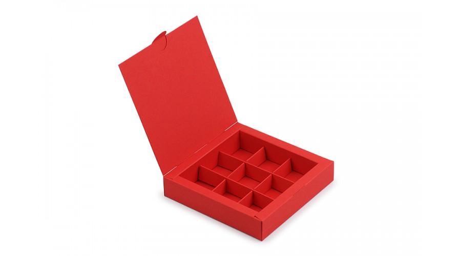 Коробка на 9 цукерок із дизайнерського картону, червона, 153х153х30