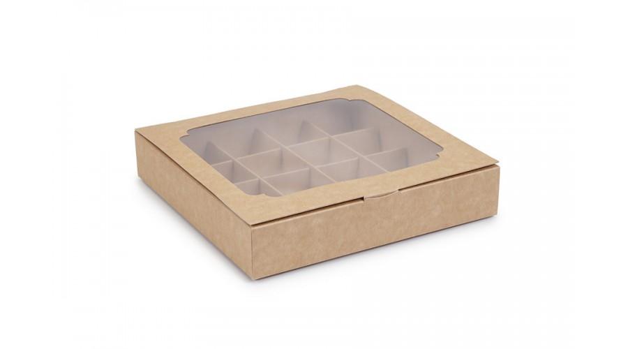 Коробка на 16 конфет с окошком,  крафтового цвета, 185х185х35