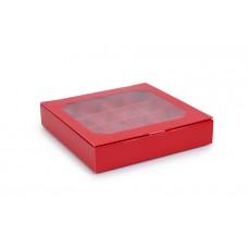 Коробка на 16 цукерок з віконцем, червоного кольору, 185х185х35